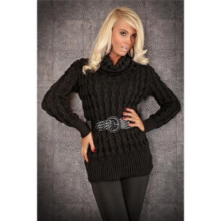 STYLISH  KNITTED POLO-NECK SWEATER WITH BELT FLEECY BLACK