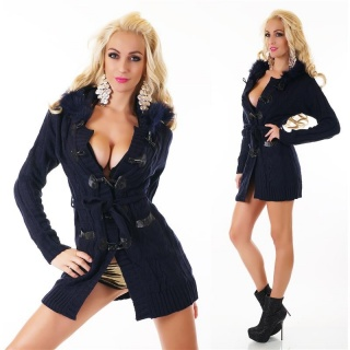 HIGH-CLASS PADDED CARDIGAN LONG JACKET WITH FAKE FUR AND HOOD NAVY