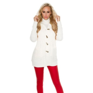 TRENDY PADDED CARDIGAN JACKET WITH HOOD CREAM
