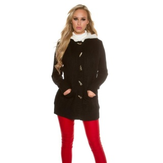 TRENDY PADDED CARDIGAN JACKET WITH HOOD BLACK