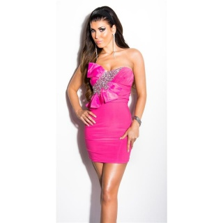 GLAMOUR BANDEAU MINIDRESS WITH STONES AND BOW FUCHSIA