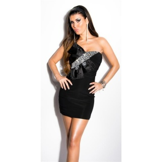 GLAMOUR BANDEAU MINIDRESS WITH STONES AND BOW BLACK