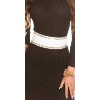 GLAMOUR IMITATION LEATHER WAIST BELT TO TIE WITH RHINESTONES WHITE