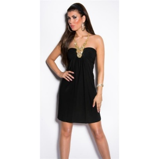 GLAMOUR HALTERNECK MINIDRESS WITH CHAIN AND RHINESTONES BLACK