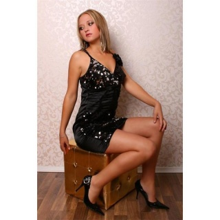 GLAMOUR SEQUINED DRESS MADE OF SATIN BLACK
