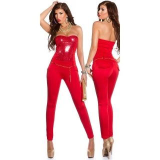 SEQUINED GLAMOUR PARTY OVERALL JUMPSUIT WITH BELT CLUBBING RED