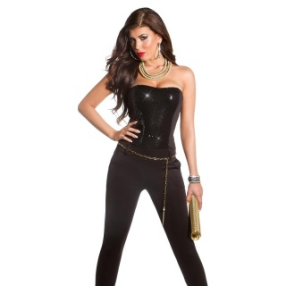 SEQUINED GLAMOUR PARTY OVERALL JUMPSUIT WITH BELT CLUBBING BLACK