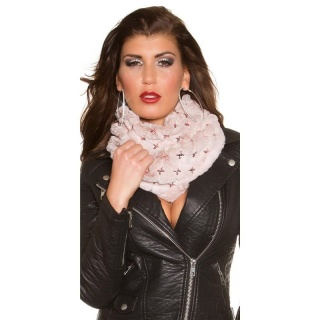 SOFT AND CUDDLY GLAMOUR LOOP SCARF WITH SEQUINS ANTIQUE PINK