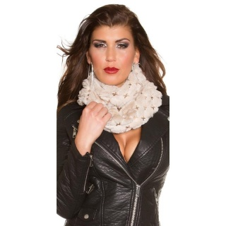 SOFT AND CUDDLY GLAMOUR LOOP SCARF WITH SEQUINS BEIGE