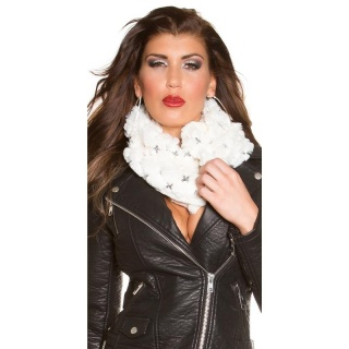 SOFT AND CUDDLY GLAMOUR LOOP SCARF WITH SEQUINS WHITE