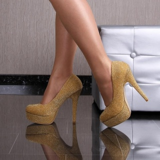 GLAMOUR PUMPS HIGH HEELS PLATFORMS WITH GLITTER GOLD