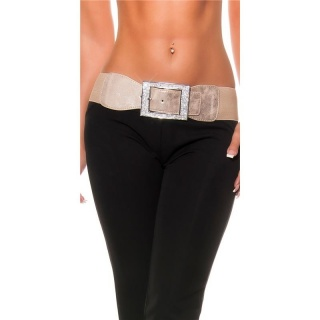 GLAMOUR WOMENS STRETCH-BELT WITH SPARKLING RHINESTONES CAPPUCCINO