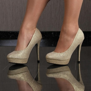 SEXY PUMPS HIGH HEELS PLATFORMS WITH GLITTER GOLD