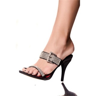 GLAMOUR SANDALS WITH RHINESTONES SATIN BLACK