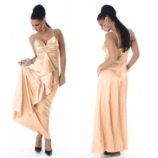 GLAMOUR GALA SATIN EVENING DRESS APRICOT