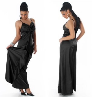 GLAMOUR GALA SATIN EVENING DRESS BLACK