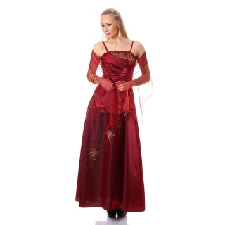 GLAMOUROUS GALA EVENING DRESS GOWN WITH STOLE WINE-RED