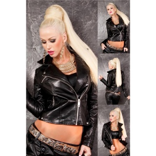 HIGH CLASS BIKER JACKET MADE OF ARTIFICIAL LEATHER WITH ZIPPER BLACK