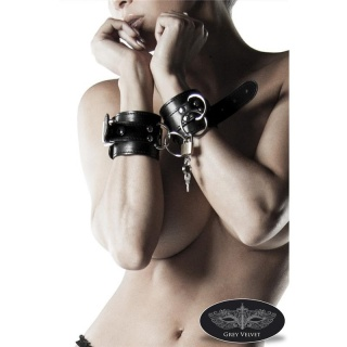 HIGH QUALITY HANDCUFFS BONDAGE MADE OF ARTIFICIAL LEATHER BLACK