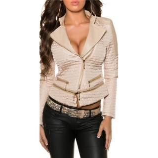 LIGHT QUILTED PREMIUM JACKET IN BIKER-STYLE WITH ZIPPER BEIGE