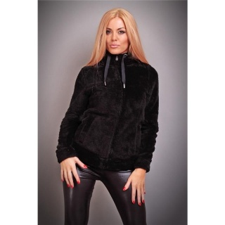CUDDLY PLUSH-JACKET TEDDY JACKET SOFTY WITH HOOD BLACK