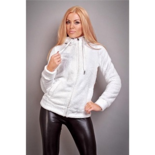 CUDDLY PLUSH-JACKET TEDDY JACKET SOFTY WITH HOOD WHITE