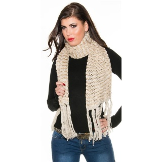 CUDDLY XXL SCARF WITH GLITTER AND FRINGES BEIGE