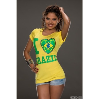 CASUAL SHORT-SLEEVED SHIRT WITH PRINT I LOVE BRAZIL YELLOW/GREEN