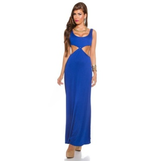 LANGES GODDESS-LOOK MAXI-ABENDKLEID MIT CUT-OUTS ROYAL BLAU