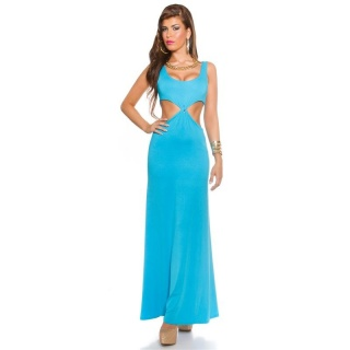 LANGES GODDESS-LOOK MAXI-ABENDKLEID MIT CUT-OUTS TÜRKIS
