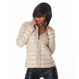 LIGHT QUILTED JACKET WITH ZIPPER AND STAND-UP COLLAR BEIGE