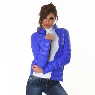 LIGHT QUILTED JACKET WITH ZIPPER AND STAND-UP COLLAR BLUE
