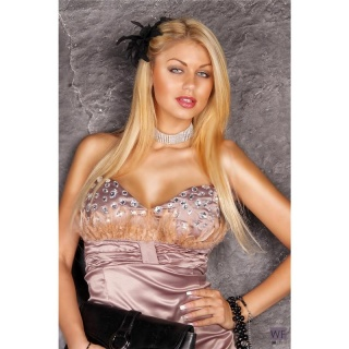 PRECIOUS SATIN BANDEAU DRESS MINIDRESS RHINESTONES CAPPUCCINO