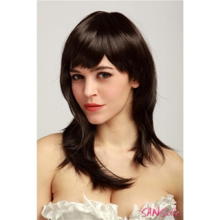 CHIN-LENGTH STRAIGHT WIG WITH PONY 59 CM LENGTH BROWN