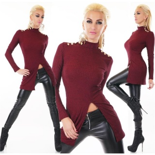 RIB-KNITTED LONG SWEATER WITH SLIT AND GOLDEN BUTTONS WINE-RED