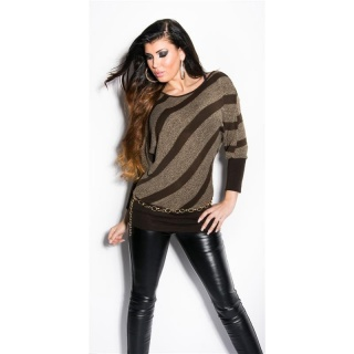 TRENDY KNITTED SWEATER WITH BATWING SLEEVES BROWN