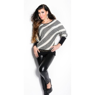 TRENDY KNITTED SWEATER WITH BATWING SLEEVES WHITE/BLACK