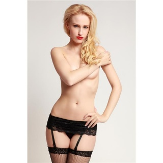 SEXY SLIM SUSPENDERS GARTER-BELT MADE OF LACE LINGERIE BLACK