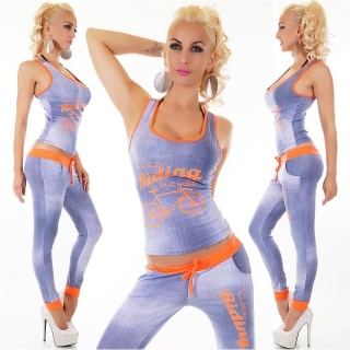 SEXY 2-TEILIGES SPORT-SET JOGGING YOGA TOP+HOSE BLAU/NEON-ORANGE