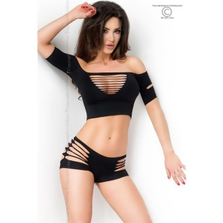 SEXY 2 PCS GOGO-SET WITH CUT-OUTS TOP + HOTPANTS CLUBWEAR BLACK
