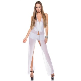 SEXY 2 PCS STRIPPER SET WITH TULLE GOGO CLUBWEAR WET LOOK WHITE
