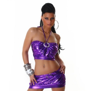 SEXY 2-TLG GOGO-SET TOP+ROCK CLUBWEAR METALLIC-LOOK LILA