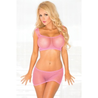 SEXY 2 PCS STRIPPER SET FISHNET-SET GOGO CLUBWEAR CLUBBING FUCHSIA
