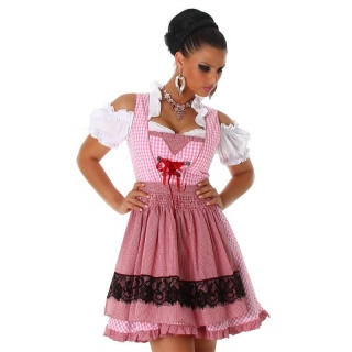 SEXY 3 PCS DIRNDL COSTUME DRESS BLOUSE AND APRON PINK