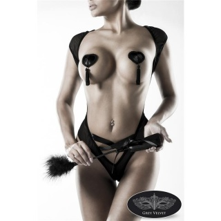 SEXY 3-TLG EROTIK DESSOUS-SET BODY PEITSCHE NIPPLE PATCH SCHWARZ