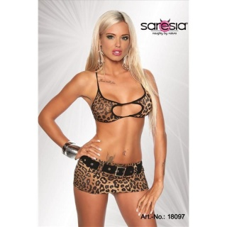 SEXY 3 PCS STRIPPER-SET GOGO CLUBWEAR LEOPARD-LOOK BROWN/BLACK