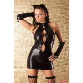 SEXY 4-PCS CATWOMAN OUTFIT SET WET LOOK GOGO BLACK