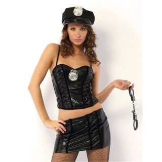SEXY 4 PCS POLICE OUTFIT STRIPPER-SET GOGO WET LOOK BLACK