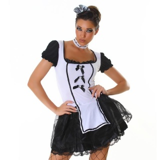 SEXY 4 PCS MAID COSTUME FANCY DRESS CLUBWEAR BLACK / WHITE