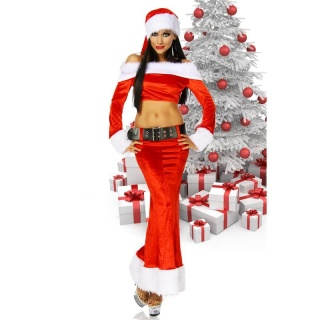 SEXY 4 PCS SANTA BABE COSTUME FANCY DRESS CHRISTMAS RED/WHITE
